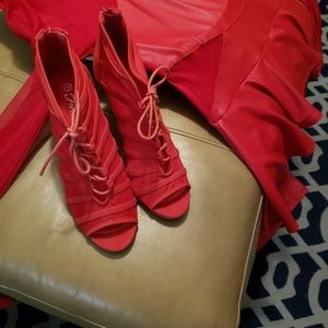 Forever Shoes - FOREVER RED MESH/FABRIC STILLETO BOOTIES